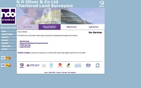 Screenshot of Services Page ndoliver.com - N D Oliver - Chartered Land Surveyors & Geomaticians, Manchester UK - Site Services - captured Oct. 3, 2014