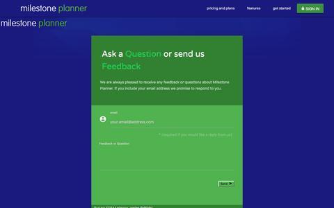 Screenshot of Contact Page milestoneplanner.com - Milestone Planner - Send Feedback - captured Jan. 20, 2016