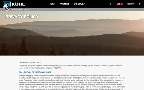 Screenshot of Privacy Page kuhl.com - KÜHL Clothing Privacy Policy | Born in the Mountains - captured June 29, 2018