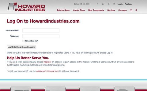 Screenshot of Login Page howardindustries.com - Login | Howard Industries - captured July 17, 2016