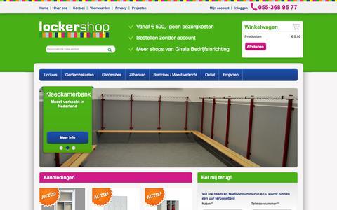 Screenshot of Home Page lockershop.nl - Lockershop.nl   Lockers Garderobekasten en Zitbanken   Ghala Bedrijfsinrichting - captured Oct. 3, 2014