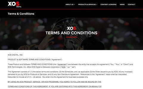 Screenshot of Terms Page xosdigital.com - XOS Digital | Terms & Conditions | XOS Digital - captured Dec. 4, 2015