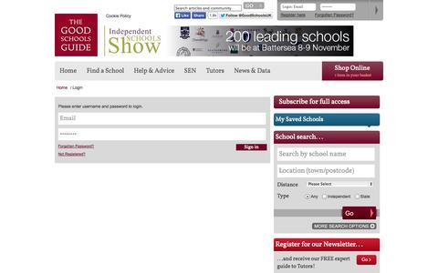 Screenshot of Login Page goodschoolsguide.co.uk - Login | The Good Schools Guide - captured Nov. 4, 2014