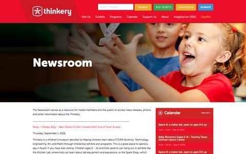 Screenshot of Press Page thinkeryaustin.org - Newsroom - Thinkery - captured Sept. 16, 2016