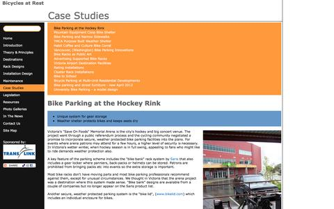 Screenshot of Case Studies Page bicycleparkingonline.org - Bike Parking at the Hockey Rink | Bicycles at Rest - captured June 2, 2016