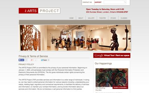 Screenshot of Privacy Page artsproject.ca - The ARTS Project | London ON | Privacy & Terms of Service - captured Oct. 26, 2014