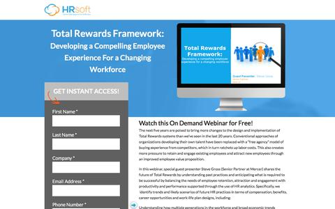 Screenshot of Landing Page hrsoft.com - Total Rewards Framework: Developing a Compelling Employee Experience For a Changing Workforce - captured July 22, 2017