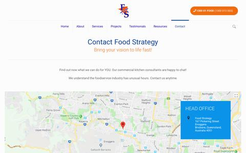Screenshot of Contact Page foodstrategy.com.au - Commercial Kitchen Consultants | Food Strategy Australia - captured Aug. 9, 2018