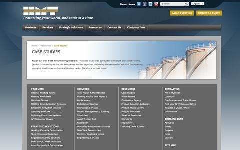 Screenshot of Case Studies Page hmttank.com - HMT > Resources > Case Studies - captured Oct. 1, 2014