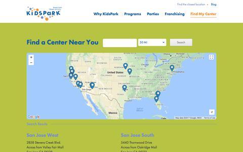Screenshot of Locations Page kidspark.com - Locations - KidsPark - captured Oct. 17, 2017