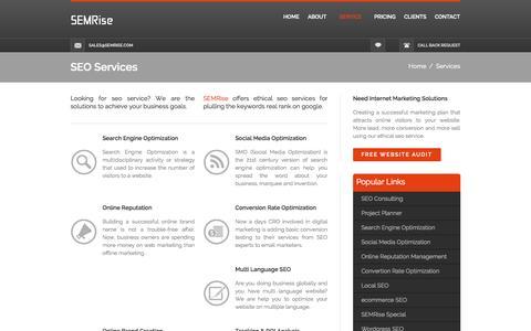 Screenshot of Services Page semrise.com - SEO services - captured Sept. 30, 2014