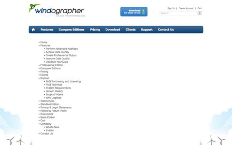 Screenshot of Site Map Page windographer.com - Site Map - captured Sept. 30, 2014