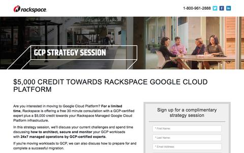 Screenshot of Landing Page rackspace.com - GCP Strategy Session - captured May 22, 2018