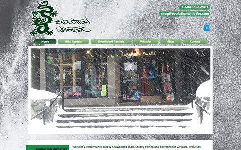 Screenshot of Home Page evolutionwhistler.com - Bike Rentals & Service, Snowboard Rentals & Serivce EVOLUTION WHISTLER - captured May 13, 2017