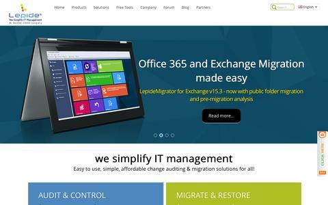 Screenshot of Home Page lepide.com - Lepide Software - Provider of Enterprise Level Network Management, Server Management and IT Management Tools - captured Sept. 20, 2015