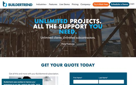 Screenshot of Pricing Page buildertrend.com - Pricing and Cost | Buildertrend - captured Oct. 20, 2019