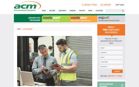 Screenshot of Locations Page acmplc.com - Your Local Waste Management Company - ACM Environmental - captured Oct. 6, 2017