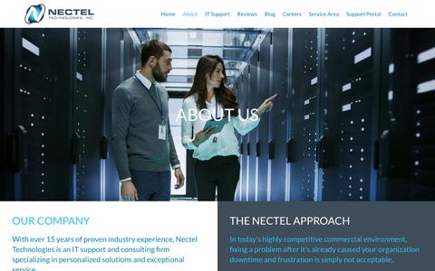 Screenshot of About Page necteltechnologies.com - Managed IT Support Cicero | Managed IT Services Cicero | Nectel Technologies - captured Oct. 18, 2018