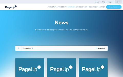 Screenshot of Press Page pageuppeople.com - News - PageUp - captured Dec. 27, 2018