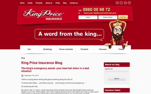 Screenshot of Blog kingprice.co.za - King Price Insurance - Super Cheap Insurance - captured Sept. 22, 2014