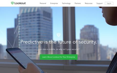 Screenshot of Home Page lookout.com - Mobile Security   Lookout, Inc. - captured Feb. 9, 2016