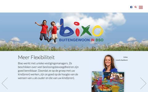 Screenshot of Home Page bixo.nl - Home - Bixo | Buitengewoon in BSO - captured Aug. 2, 2018