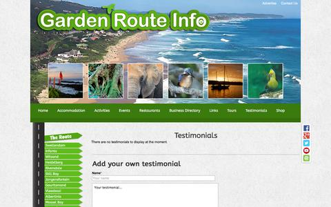Screenshot of Testimonials Page garden-route-info.co.za - Garden Route Info - captured Dec. 25, 2016
