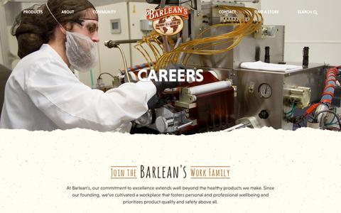Screenshot of Jobs Page barleans.com - Careers | Barlean's - captured Nov. 18, 2018