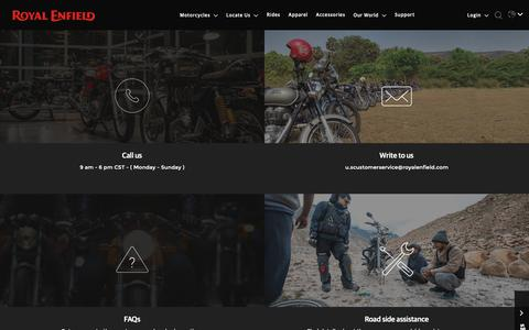 Screenshot of Contact Page Support Page royalenfield.com - Support - captured Nov. 23, 2018