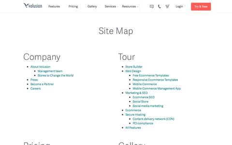 Screenshot of Site Map Page volusion.com - Site Map | Volusion - captured March 24, 2016