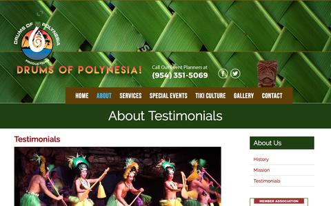 Screenshot of Testimonials Page drumsofpolynesia.com - Drums Of Polynesia - captured Oct. 13, 2017