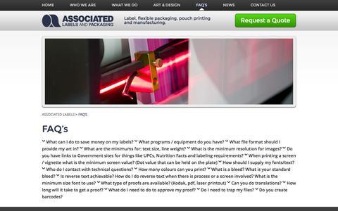 Screenshot of FAQ Page associated-labels.com - Green Label Printing Company   Associated Labels, Digital Label - captured Feb. 6, 2016