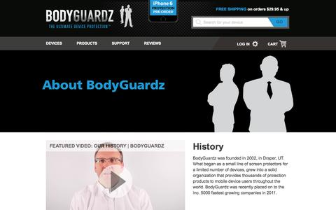 Screenshot of About Page bodyguardz.com - About Us - captured Sept. 12, 2014