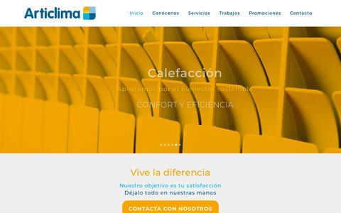 Screenshot of Home Page articlima.com - Articlima | CLIMATIZACIÓN, CALEFACCIÓN, VENTILACIÓN, FONTANERÍA, CONTRA INCENDIOS, PROYECTOS DE INGENIERÍA Y MANTENIMIENTO DE INSTALACIONES - captured July 30, 2018