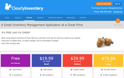 Screenshot of Pricing Page clearlyinventory.com - Pricing for Clearly Inventory Web Based Inventory Management Software. - captured Nov. 4, 2018