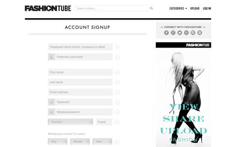 Screenshot of Signup Page fashiontube.com - Sign up | FashionTube - captured Sept. 30, 2014