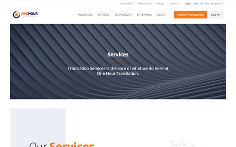 Screenshot of Services Page onehourtranslation.com - Services | One Hour Translation - captured Sept. 8, 2019