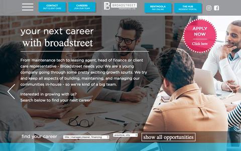 Screenshot of Jobs Page broadstreet.ca - Careers | Broadstreet Properties - captured Oct. 6, 2018