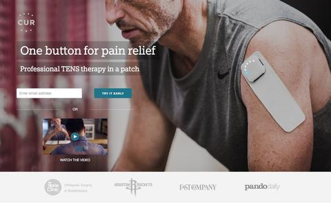 Screenshot of Home Page cur.me - CUR | Professional pain therapy evolved into a patch. No drugs. - captured Dec. 10, 2015