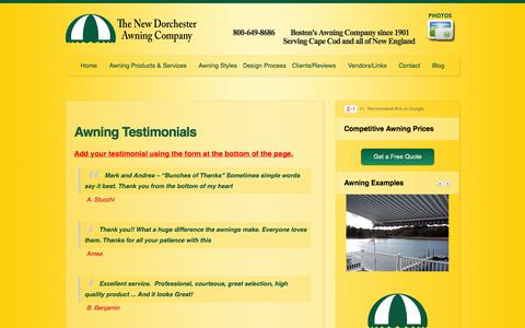 Screenshot of Testimonials Page dorchesterawning.com - Awning Testimonials / Reviews for Dorchester Awning Company in Boston - captured Sept. 30, 2014