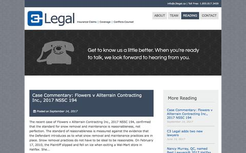 Screenshot of Blog c3legal.ca - Blog – C3 Legal - captured Sept. 25, 2018