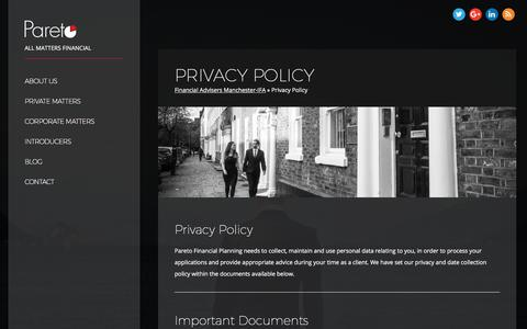 Screenshot of Privacy Page paretofp.co.uk - Privacy Policy - Pareto FP - captured April 19, 2018