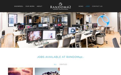 Screenshot of Jobs Page random42.com - Jobs | Random42 | Medical Animation | Science in Motion - captured Sept. 22, 2018