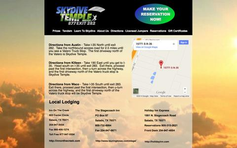 Screenshot of Maps & Directions Page skydivetemple.com - Directions to Skydive Temple - Parachuting in the Austin, Waco, Ft Hood area - captured Oct. 7, 2014