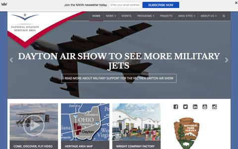 Screenshot of Home Page aviationheritagearea.org - National Aviation Heritage Area - Come. Discover. Fly! - captured Feb. 16, 2016