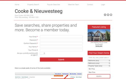 Screenshot of Signup Page calgarysignaturerealestate.com - Cooke & Nieuwesteeg : RE/MAX iREALTY INNOVATIONS : Sign Up to Become a Member - captured July 11, 2017