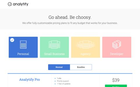 Screenshot of Pricing Page analytify.io - Pricing - Analytify - captured Sept. 14, 2018