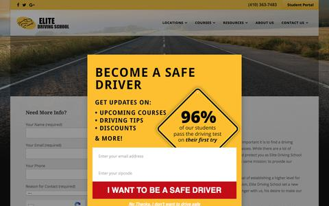 Screenshot of About Page drivingschool.net - Top Maryland Driving School - captured July 29, 2017