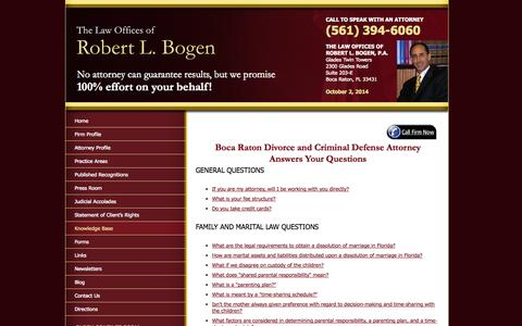 Screenshot of FAQ Page bogenlaw.com - Florida Divorce and Family Law FAQ - The Law Offices of Robert L. Bogen, P.A. - captured Oct. 2, 2014