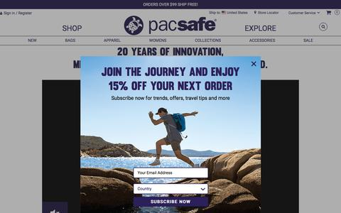 Screenshot of About Page pacsafe.com - Pacsafe About Us - captured July 15, 2018